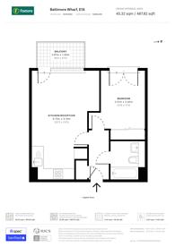 Large floorplan for Baltimore Wharf, Tower Hamlets, E14