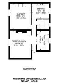 Large floorplan for Abingdon Road, High Street Kensington, W8