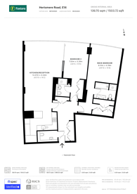 Large floorplan for West India Quay, Canary Wharf, E14