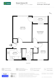 Large floorplan for Sail Court, Canary Wharf, E14