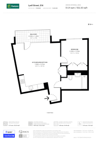 Large floorplan for Astell House, Canary Wharf, E14