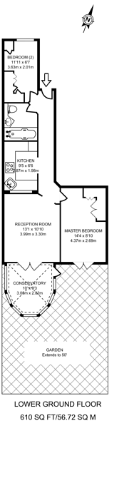 Large floorplan for Garden Flat, Sutherland Avenue, Maida Vale, W9