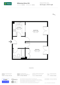 Large floorplan for Millennium Drive, Canary Wharf, E14