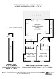Large floorplan for Penthouse with London Skyline Views from Roof Terrace - Triangle Place, Clapham, SW4