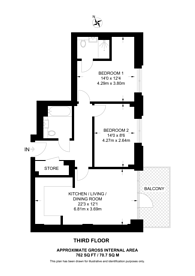 Large floorplan for Colindale Gardens, Colindale, NW9