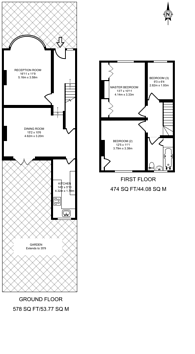 Large floorplan for Liddell Gardens, Kensal Rise, NW10