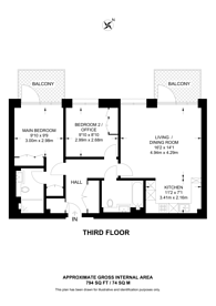 Large floorplan for Fulham Reach, Fulham, W6