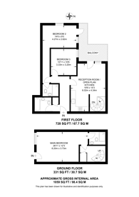 Large floorplan for Oyster Wharf, Battersea, SW11