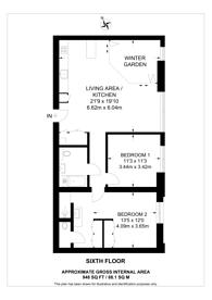 Large floorplan for GoodLuck Hope, Canary Wharf, E14