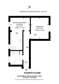Large floorplan for Hanover place, Charing Cross, WC2E