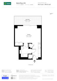 Large floorplan for Bagshaw Building, Canary Wharf, E14