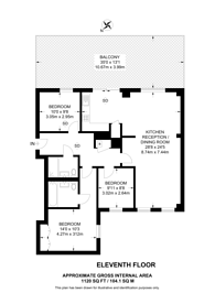 Large floorplan for Merchant Square East, Marylebone, W2
