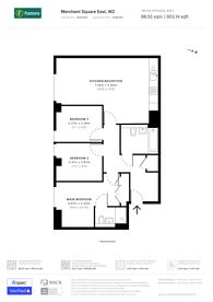 Large floorplan for Merchant Square East, Paddington, W2