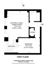 Large floorplan for Colindale Gardens, Colindale, NW9