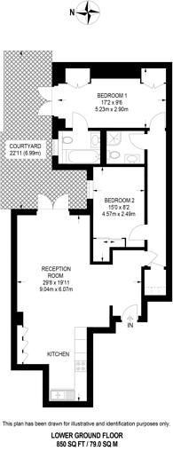 Large floorplan for De Vere Gardens, Kensington, W8