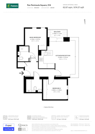 Large floorplan for Pan Peninsula Square, Canary Wharf, E14